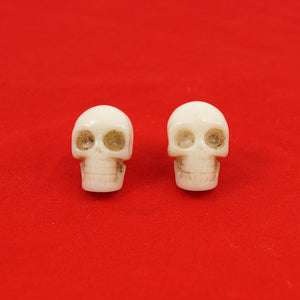 Kreepsville 666 White Skull Earrings for sale at Cats Like Us - 1