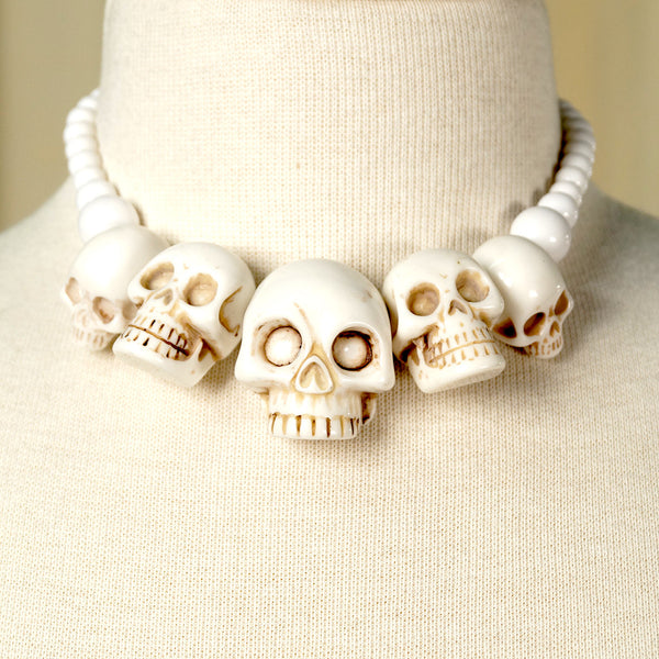 Kreepsville 666 White Skull Necklace for sale at Cats Like Us - 2
