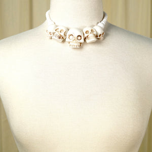 Kreepsville 666 White Skull Necklace for sale at Cats Like Us - 1