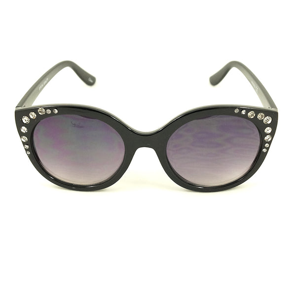Black Bling Round Sunglasses