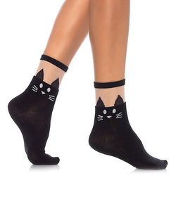 Black Cat Sheer Anklet - Cats Like Us