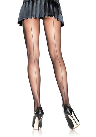 Black Sheer Seam Pantyhose
