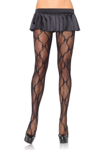Bow Lace Pantyhose by Leg Avenue
