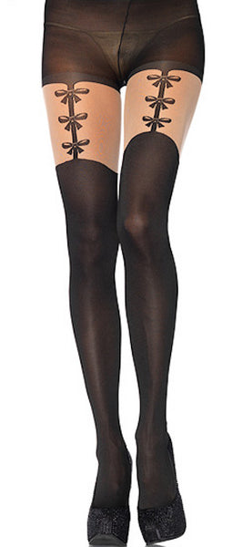 Faux Bows Garterbelt Pantyhose - Cats Like Us