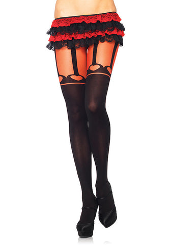 Faux Heart Garter Pantyhose - Cats Like Us