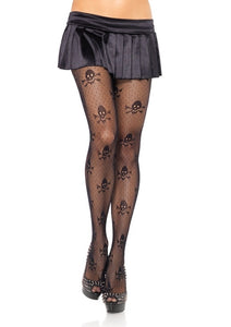 Micro Net Skull Print Pantyhose - Cats Like Us