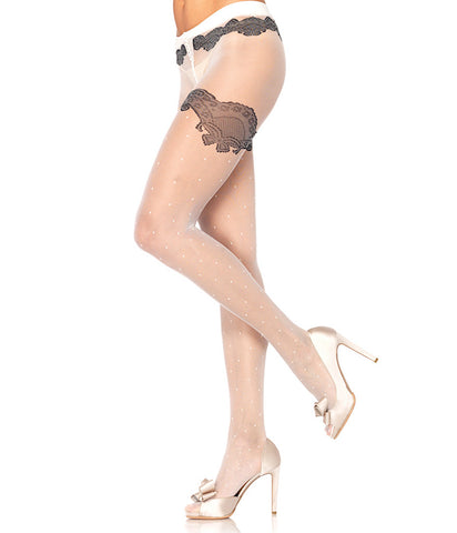 Leg Avenue White Sheer Polka Dot Pantyhose for sale at Cats Like Us