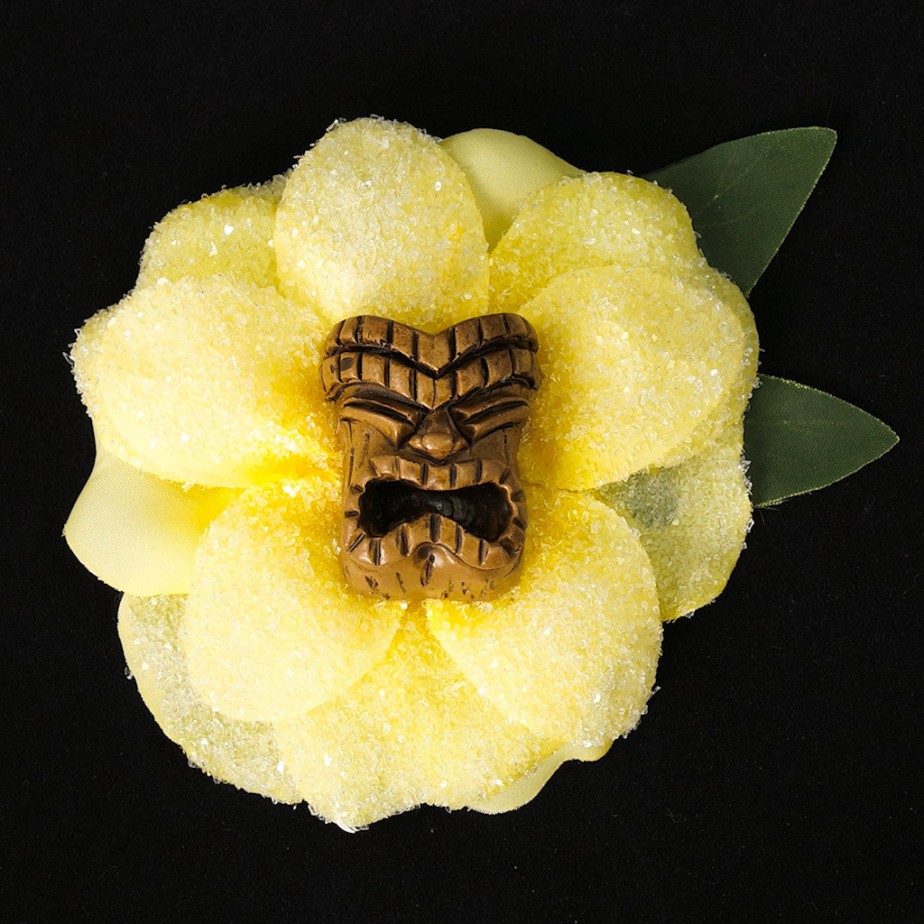 Yellow Tiki God Hair Flower - Cats Like Us