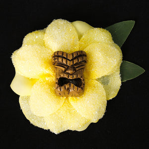 Lila Jo Yellow Tiki God Hair Flower for sale at Cats Like Us - 1