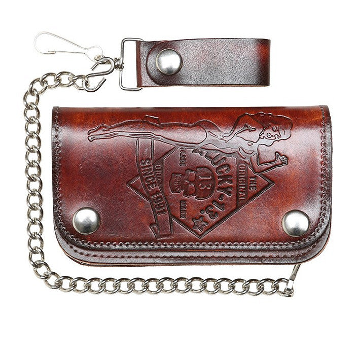 Lucky 13 No Riders Embossed Chain Wallet for sale at Cats Like Us - 1