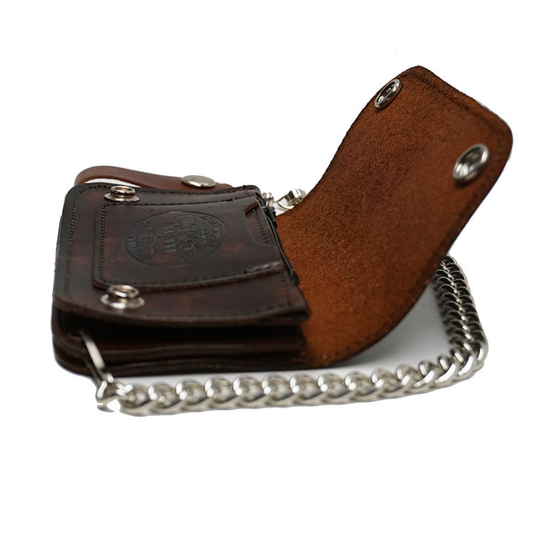 Lucky 13 No Riders Embossed Chain Wallet for sale at Cats Like Us - 3