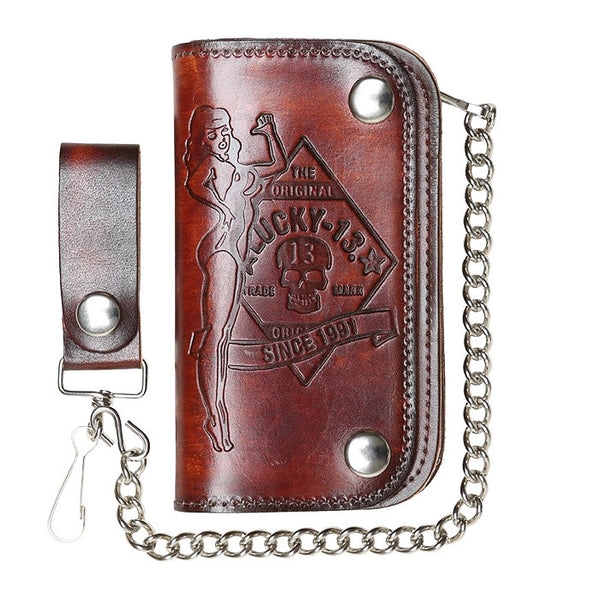 Lucky 13 No Riders Embossed Chain Wallet for sale at Cats Like Us - 2