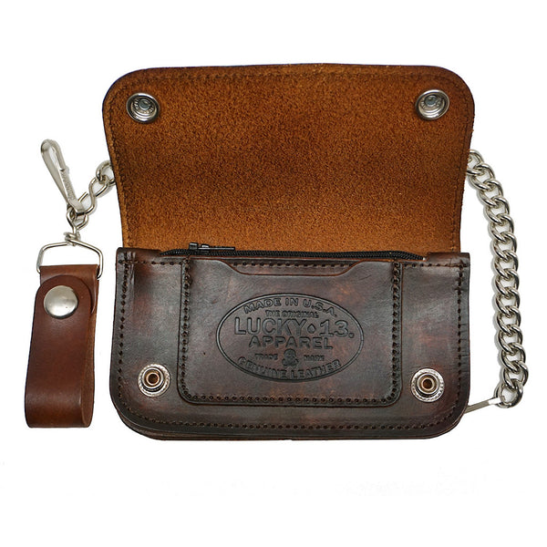 Lucky 13 No Riders Embossed Chain Wallet for sale at Cats Like Us - 5
