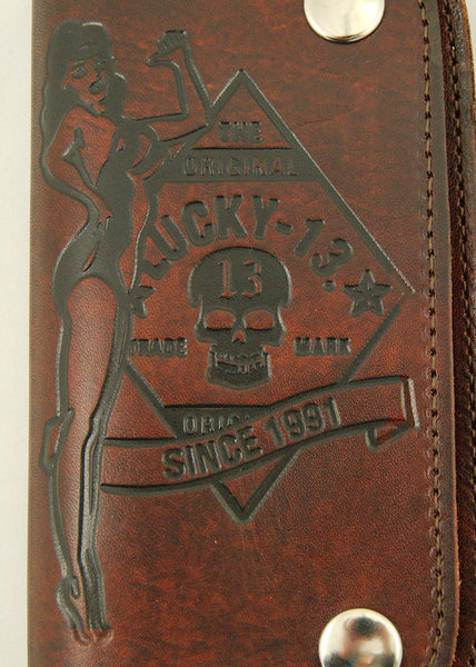 Lucky 13 No Riders Embossed Chain Wallet for sale at Cats Like Us - 6