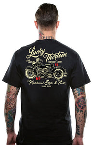 Lucky 13 Vintage Iron Motorcycle T Shirt for sale at Cats Like Us - 1