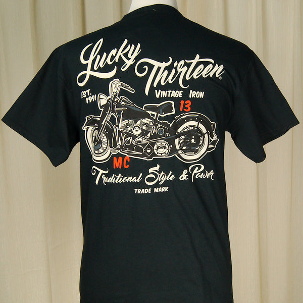 Lucky 13 Vintage Iron Motorcycle T Shirt for sale at Cats Like Us - 2