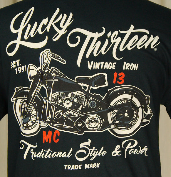 Lucky 13 Vintage Iron Motorcycle T Shirt for sale at Cats Like Us - 3