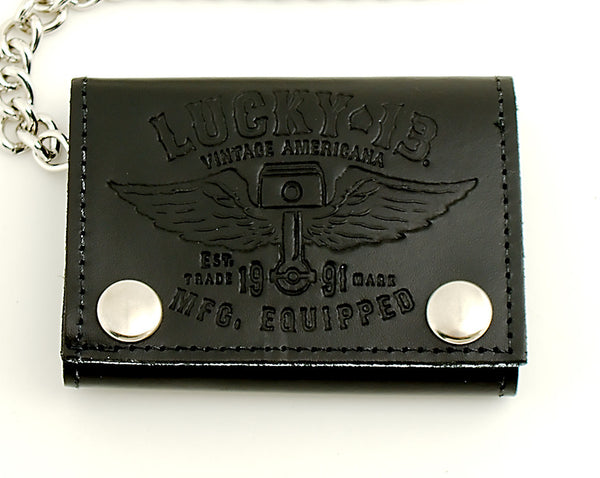 Lucky 13 Winged Piston Leather Wallet for sale at Cats Like Us - 2