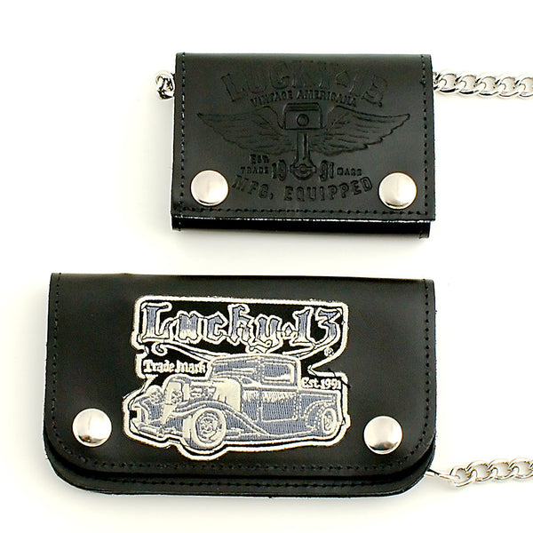 Lucky 13 Winged Piston Leather Wallet for sale at Cats Like Us - 3