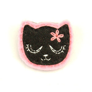 Black Kitty Pin in Girly Pink by Lumpy Buttons : Cats Like Us