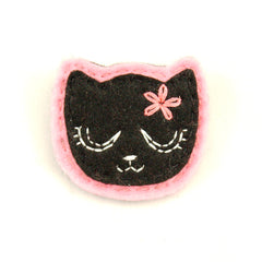 Black Kitty Pin in Girly Pink