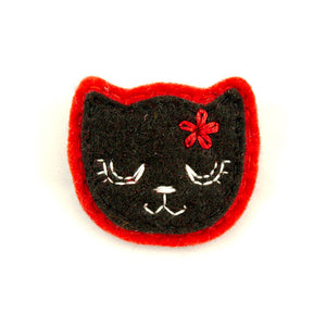 Black Kitty Pin in Girly Red by Lumpy Buttons : Cats Like Us