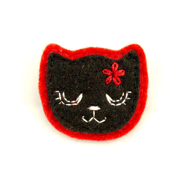 Black Kitty Pin in Girly Red