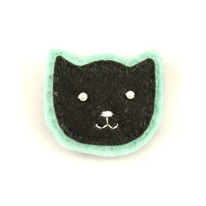 Black Kitty Pin in Mint by Lumpy Buttons : Cats Like Us