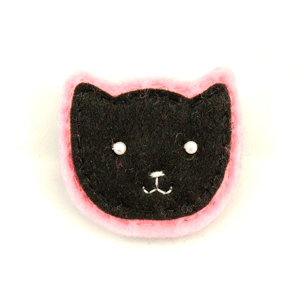 Black Kitty Pin in Pink - Cats Like Us