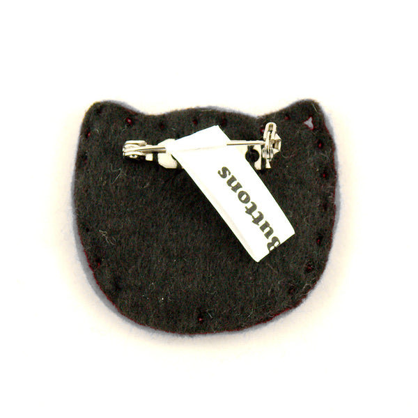 Black Kitty Pin in Red by Lumpy Buttons : Cats Like Us