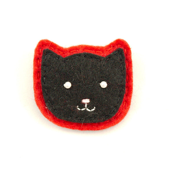 Black Kitty Pin in Red - Cats Like Us