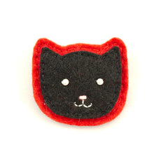 Black Kitty Pin in Red