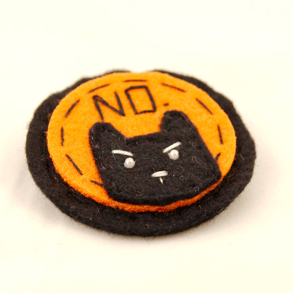Black on Orange NO Kitty Brooch by Lumpy Buttons : Cats Like Us