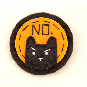 Black on Orange NO Kitty Brooch