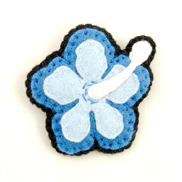Blue Hibiscus Flower Pin by Lumpy Buttons : Cats Like Us