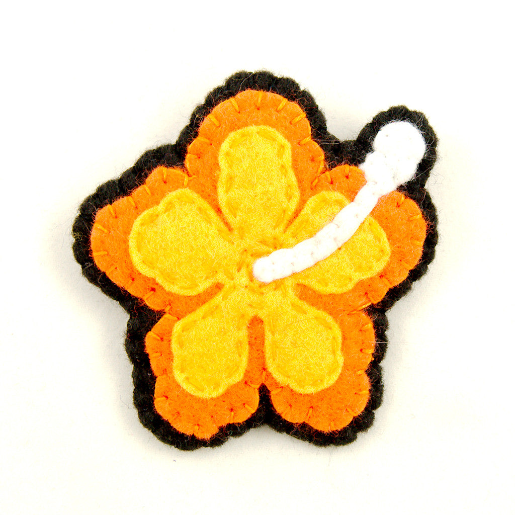 Orange Hibiscus Flower Pin by Lumpy Buttons : Cats Like Us