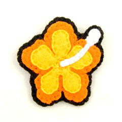 Orange Hibiscus Flower Pin