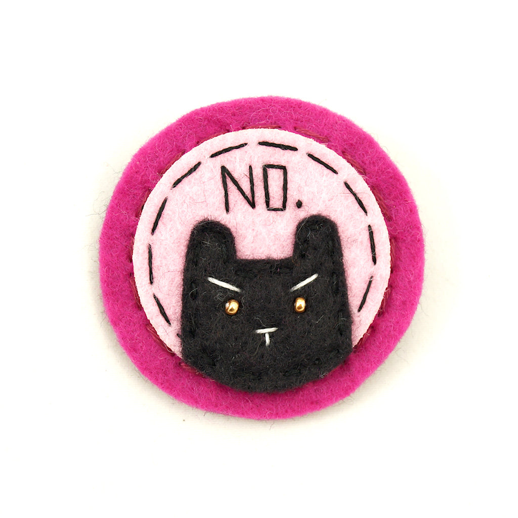 Pink and Black NO Kitty Brooch by Lumpy Buttons : Cats Like Us