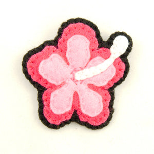 Pink Hibiscus Flower Pin by Lumpy Buttons : Cats Like Us