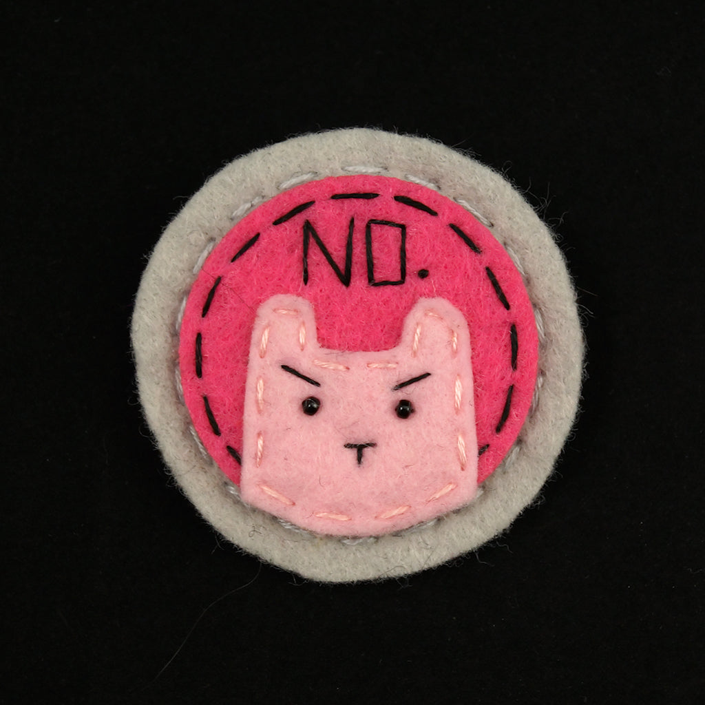 Pink on Pink NO Kitty Brooch by Lumpy Buttons : Cats Like Us