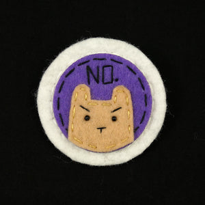 Purple and Tan NO Kitty Brooch by Lumpy Buttons : Cats Like Us