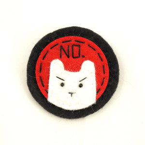 Red and White NO Kitty Brooch