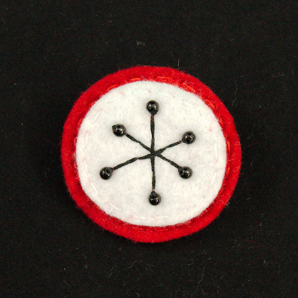 Red Small Atomic Starburst Pin