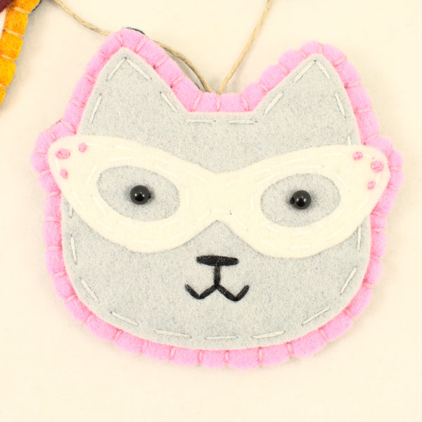 Retro Gray Kitty Ornament