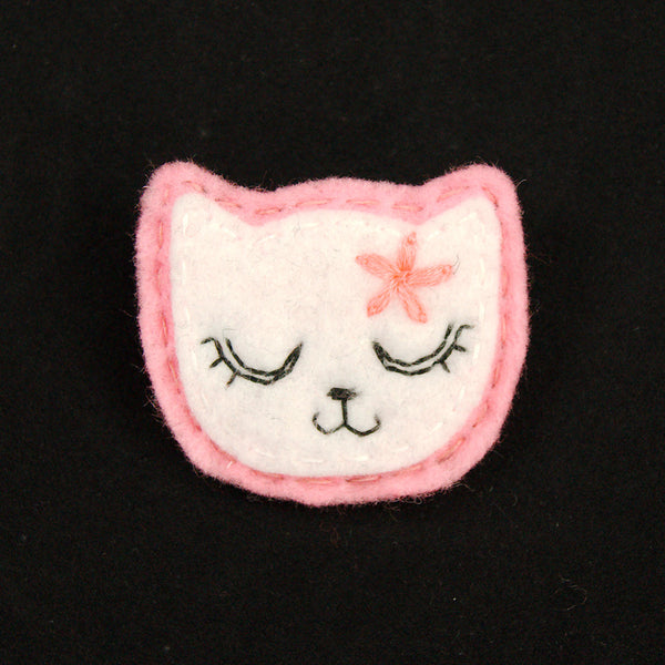 Lumpy Buttons White Kitty Pin in Girly Pink for sale at Cats Like Us - 1