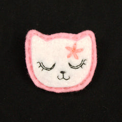 White Kitty Pin in Girly Pink