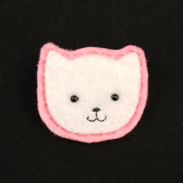 White Kitty Pin in Pink