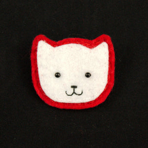 Lumpy Buttons White Kitty Pin in Red for sale at Cats Like Us - 1