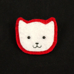 White Kitty Pin in Red