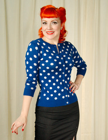 MAK Blue Spotty Dotty Cardigan for sale at Cats Like Us - 1